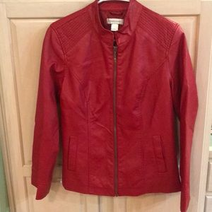 Christopher & Banks Red Faux Leather Jacket Small